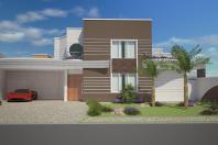 projeto casa térrea mezanino arquitetura moderna curvas círculos arquiteto americana 3 suites
