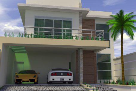 projeto sobrado casa 2 pisos quadrada caixote moderna terreno 10×25 condomínio roland limeira