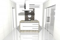 projeto casa modernista caixote quadrada terreno 10×25 3 suites cozinha ilha