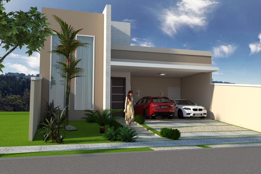 Projeto planta construir casa t rrea moderna terreno 10x25 for Casa moderna 140 m2