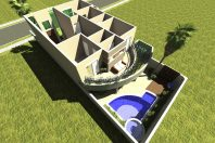 projeto casa sobrado fachada reta moderna telhado escondido