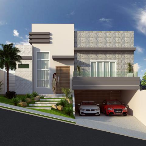 projeto casa térrea mezanino terreno aclive lateral garagem subsolo arquitetura contemporânea