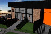 projeto bar temático harley davidson brasil limeira estrutura metálica vidro tijolinho