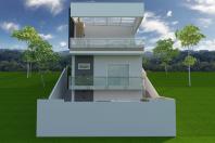 projeto casa moderna sobrado terreno declive 9×30 cotia