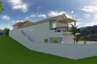 projeto casa neoclassica estilo americano telhado aparente terreno declive