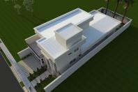 projeto casa terrea mezanino arquitetura estilo neoclassica telhado embutido terreno 12×34 Condominio Lagoa Araras
