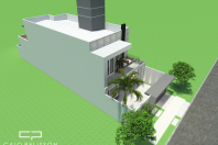 projeto planta sobrado 8×25 185 metros fachada reta caixote embutido