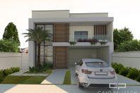 projeto casa sobrado moderno terreno 12×25 construcao 200 m2 fachada reta