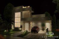 projeto casa terrea fachada moderna reta terreno 11×28 condominio lazer integrado