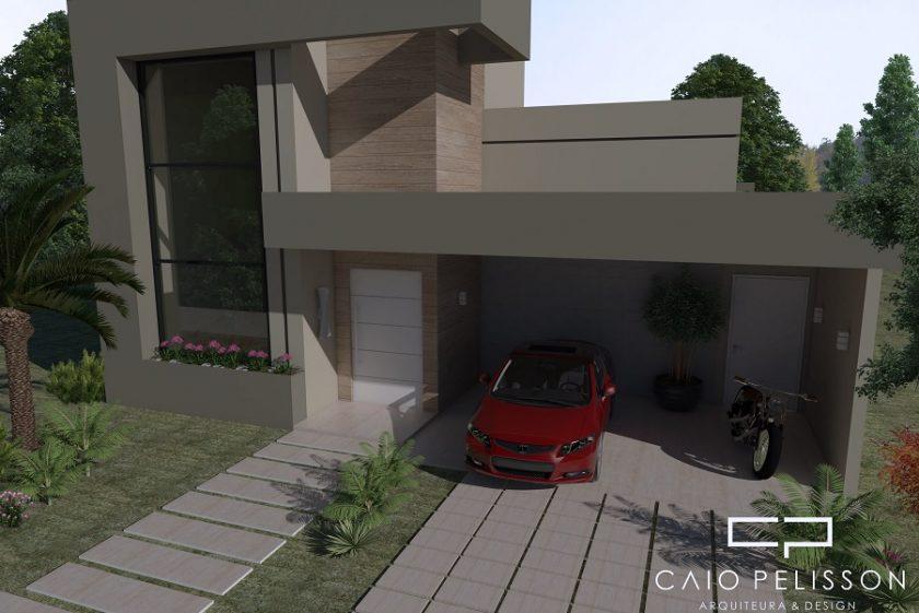 Casa térrea com mezanino, fachada moderna e telhado embutido. Terreno 12×30.