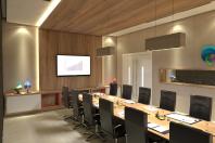 projeto design interiores corporativo sala de convivência empresa moderna