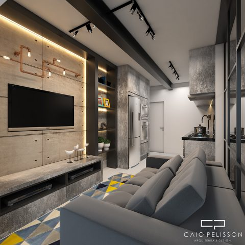 projeto decoracao design apartamento studio e-motion brooklin sp estilo industrial