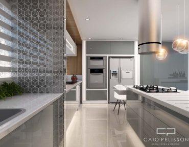 Cozinha em apartamento compacto, com bancada branca e armários fendi.