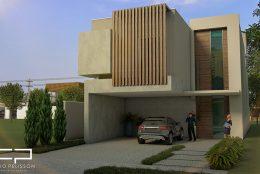Casa contemporânea utilizando volumes na fachada com elementos como a madeira e o concreto. Terreno 12×30.