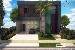 projeto planta casa térrea com mezanino fachada moderna contemporânea condomínio