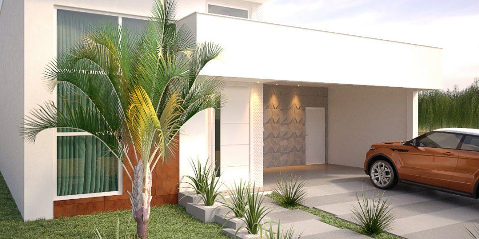 projeto casa térrea 180 metros fachada moderna condomínio terras sao bento fachada reta