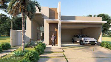 projeto casa térrea condomínio terras sao bento terreno plano 11×28 170 metros fachada moderna
