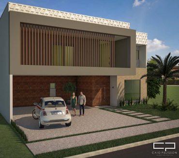 projeto sobrado contemporaneo 12×30 condominio alphaville recife volumes quadrados fachada